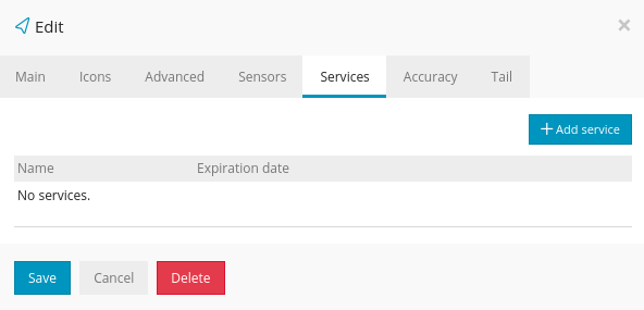 User Account Edit Services Setting